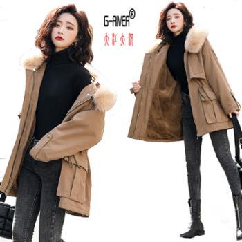 大江大河G-RIVER冬季修身韩版常规口袋纯色拉链中长款女式棉衣棉服