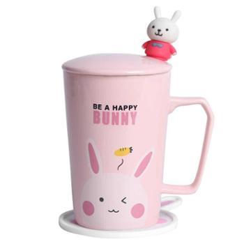 卡诺陶瓷杯马克杯卡通情侣杯牛奶杯咖啡杯带盖勺