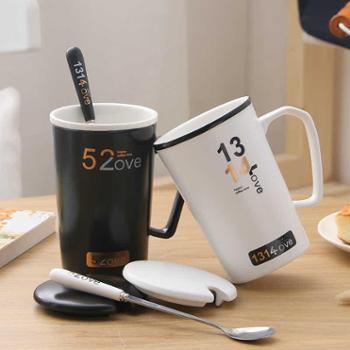 卡诺 简约陶瓷杯子马克杯早餐杯牛奶杯情侣创意水杯办公室咖啡杯定制
