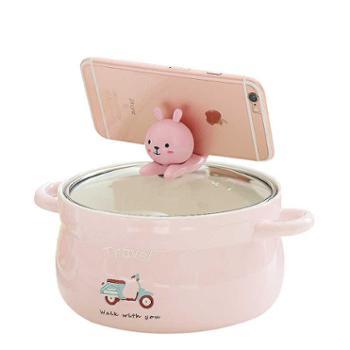 卡诺卡通餐具创意泡面碗带盖陶瓷碗可爱学生饭碗大容量汤杯米饭碗