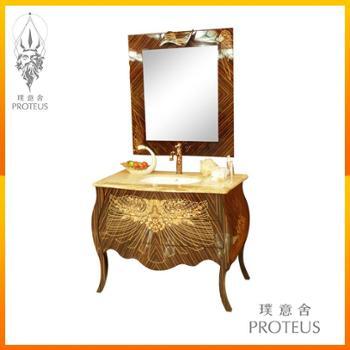 奢华美式高端大理石浴室柜组合洗脸盆镜子