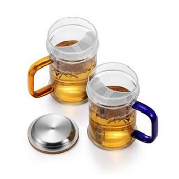 茶艺师净500m绿茶透明耐热玻璃l月牙带盖水杯子个人办公杯子家用