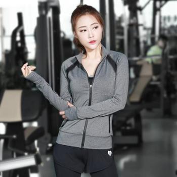 【1111搜实惠】派衣阁韩版修身拉链运动长袖拼接速干上衣瑜伽跑步健身外套
