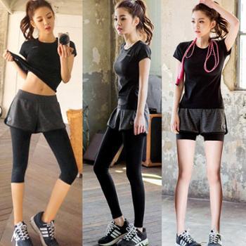 REALLION 韩版夏季瑜伽服两件套装短袖速干衣假两件透气吸汗运动健身服女士