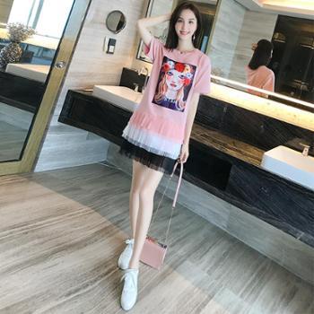 NUTLET2018夏装宽松显瘦小清新印花t恤裙短袖网纱连衣裙女7065