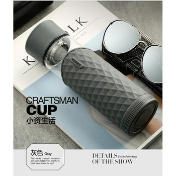 菲驰(VENES)送老公老婆 创意男女朋友生日礼品 酷尚双层便携玻璃杯400ML 灰色