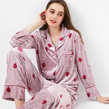 艳蔓金丝绒秋冬草莓睡衣套装女韩版休闲柔软舒适保暖家居服套装
