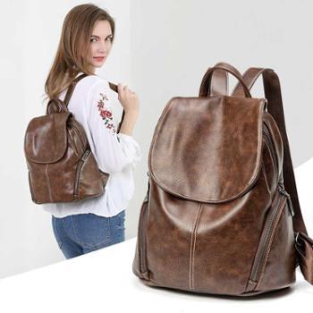 采宁双肩包女韩版百搭潮流女士休闲软皮大容量学生背包旅行包