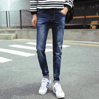 mistletoe秋冬新款韩版小直筒修身男士牛仔长裤FDK#8016
