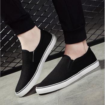 新款男士帆布鞋男学生鞋韩版时尚纯色透气一脚蹬懒人鞋