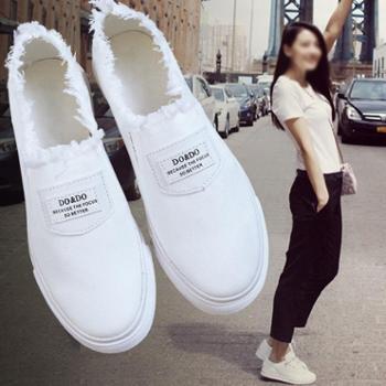 春季小白鞋韩版女帆布鞋白色板鞋平底布鞋一脚蹬懒人鞋休闲女鞋潮