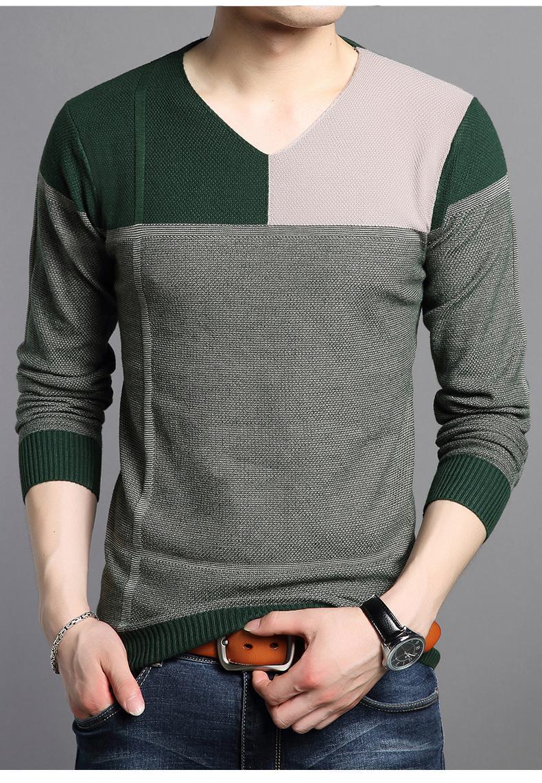 秋冬青年长袖t恤男士韩版修身加绒打底衫潮男休闲内衣保暖V领T恤