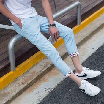 夏季水洗男士九分裤修身小脚9分男装休闲裤弹力裤子青少年潮学生