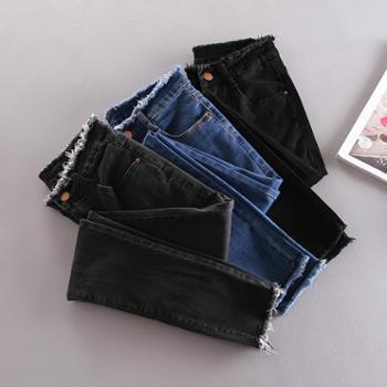 高腰牛仔裤女春修身弹力九分裤铅笔裤黑色小脚裤大码毛边牛仔裤