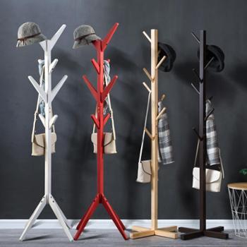 木马人简易实木质落地衣帽架客厅卧室挂衣架收纳架包邮