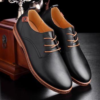皮鞋男英伦韩版男士商务休闲鞋青年男正装皮鞋大码圆头系带潮 鞋子