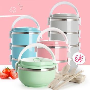 日式不锈钢多层保温桶饭盒大容量分格学生3便当盒1儿童2双层4餐盒