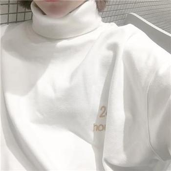 韩版秋冬新款白色刺绣中长款加厚加绒宽松高领卫衣女学生套头外套
