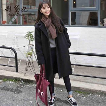 彩黛妃2017秋冬韩版修身女装毛呢外套百搭时尚大码中长款呢子大衣