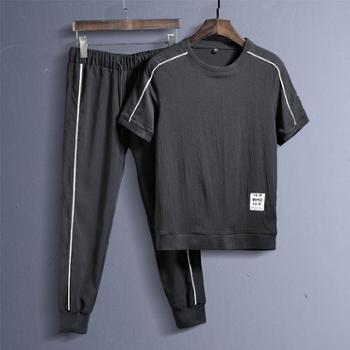 夏季短袖套装男百搭学生运动休闲韩版潮流上衣服T恤帅气一套JCD86