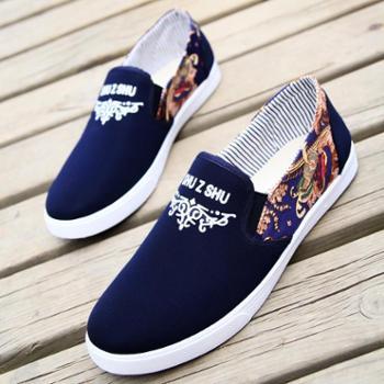 布鞋男夏季休闲男鞋韩版潮帆布鞋鞋子男老北京懒人鞋透气板鞋