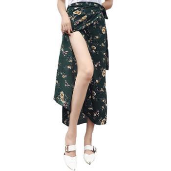 春夏女装沙滩度假波西米亚中长款雪纺裙一片式系带半身裙碎花裹裙