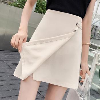 2018新款韩版百搭显瘦大码不规则包臀A字裙子高腰半身裙短裙女