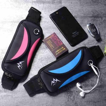 新款时尚运动手机腰包男女跑步手机包多功能迷你防水音乐钱包贴身