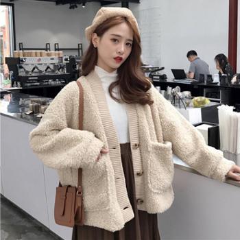 秋冬女装新款韩版BF风宽松加厚双层仿羊羔毛休闲开衫上衣外套