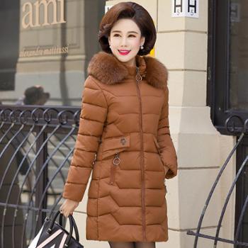 中老年女装冬装棉衣40岁50妈妈羽绒棉服中长款外套中年人冬季棉袄