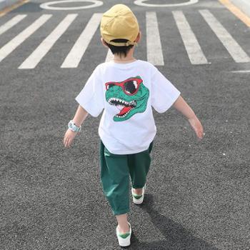 男童套装新款夏装儿童短袖两件套纯棉洋气中大童韩版恐龙潮衣