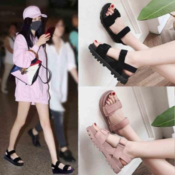凉鞋女学生新款夏季女鞋子韩版原宿风平底百搭厚底松糕女鞋潮