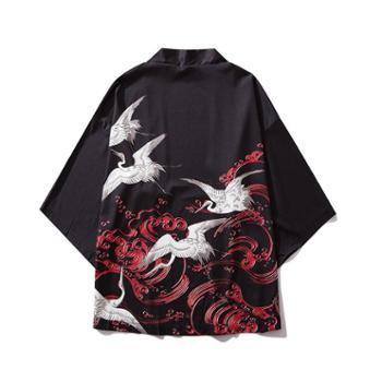 浮世绘kimono花间道袍云中鹤中国风短袖男仙鹤汉服七分袖防晒外套