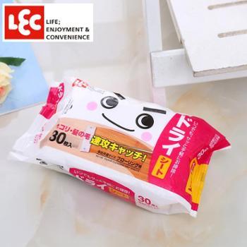 日本LEC静电除尘纸拖把一次性粘毛发擦地板墩布替换装吸尘布30张