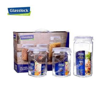 韩国三光云彩GLASSLOCK玻璃密封罐子储存罐零食糖果罐三件套IG534