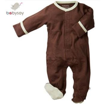 babysoy婴儿长袖薄款包脚连体衣新生儿男女宝宝爬行服开档哈衣