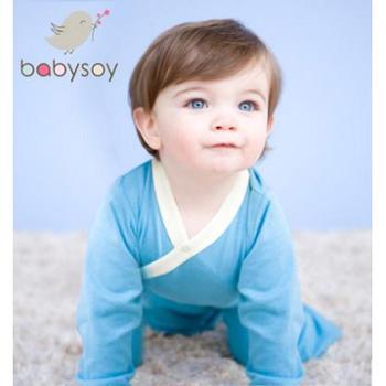 美国babysoy 宝宝衣服新生婴儿衣服连体衣春夏季0-3-6个月哈衣和尚服