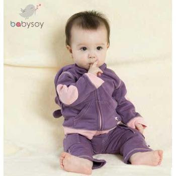 babysoy 宝宝保暖加绒外套 婴儿外出服春秋外装男女宝宝外套