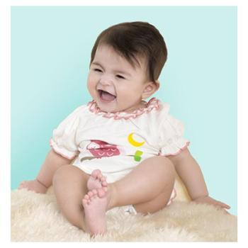 babysoy可爱女婴儿装连体衣夏宝花瓣领套装婴幼儿哈衣爬服