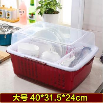塑料碗筷收纳盒带盖碗架沥水架厨房用具放碗沥水架子