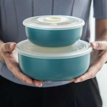 剑林创意北欧式6寸保鲜碗微波炉碗陶瓷饭盒便当盒带密封盖水果保鲜盒圆形北欧生活用品厨房用具