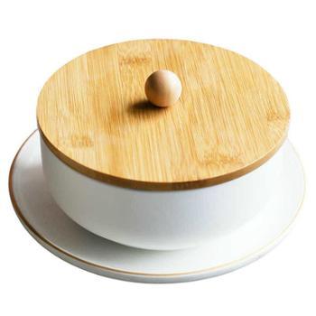 四发陶瓷北欧陶瓷面碗套装带盖子汤碗哑光韩式碗沙拉碗描金边厨房用具