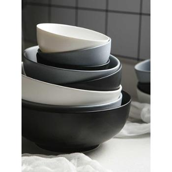 四发米饭碗小面碗大汤碗水果沙拉碗创意陶瓷哑光北欧餐具厨房用具