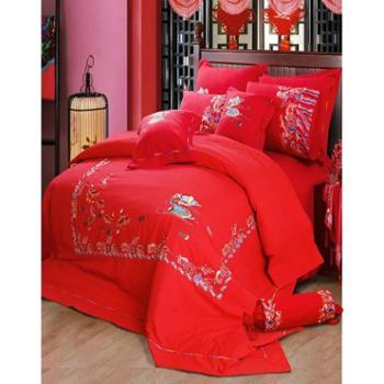 尚友堂床上用品印花老粗布四件套套件婚庆四件套套件