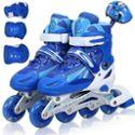 溜冰鞋儿童成人套装 可调旱冰鞋 滑冰鞋全套装闪光轮滑鞋