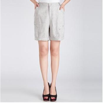 女士短裤妈妈夏装大码中年亚麻女裤高腰宽松休闲五分裤中老年夏季
