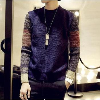 冬装圆领套头毛衣男士加肥加大码加厚针织衫青年韩版上衣潮胖男装