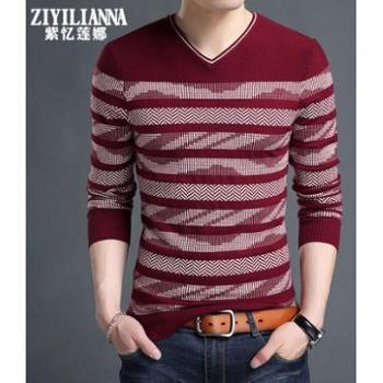 冬季男士长袖t恤V领修身针织打底衫男装春秋款潮加厚保暖毛线上衣