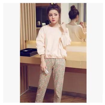 春秋季韩版长袖睡衣女生针织棉质薄款可爱卡通甜美休闲家居服套装