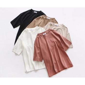新款纯色短袖t恤女宽松半袖上衣韩版学生百搭bf风打底衫